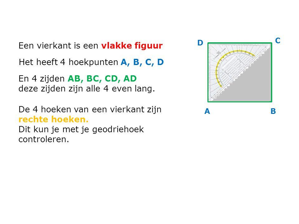 Een vierkant is een vlakke figuur Het heeft 4 hoekpunten A, B, C, D En 4 zijden AB, BC, CD, AD deze zijden zijn alle 4 even lang. De 4 hoeken van een