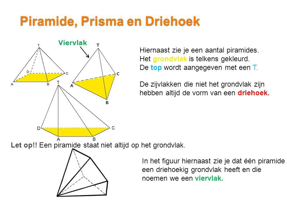 Piramide, Prisma en Driehoek Hiernaast zie je een aantal piramides. Het grondvlak is telkens gekleurd. De top wordt aangegeven met een T. Let op!! Een