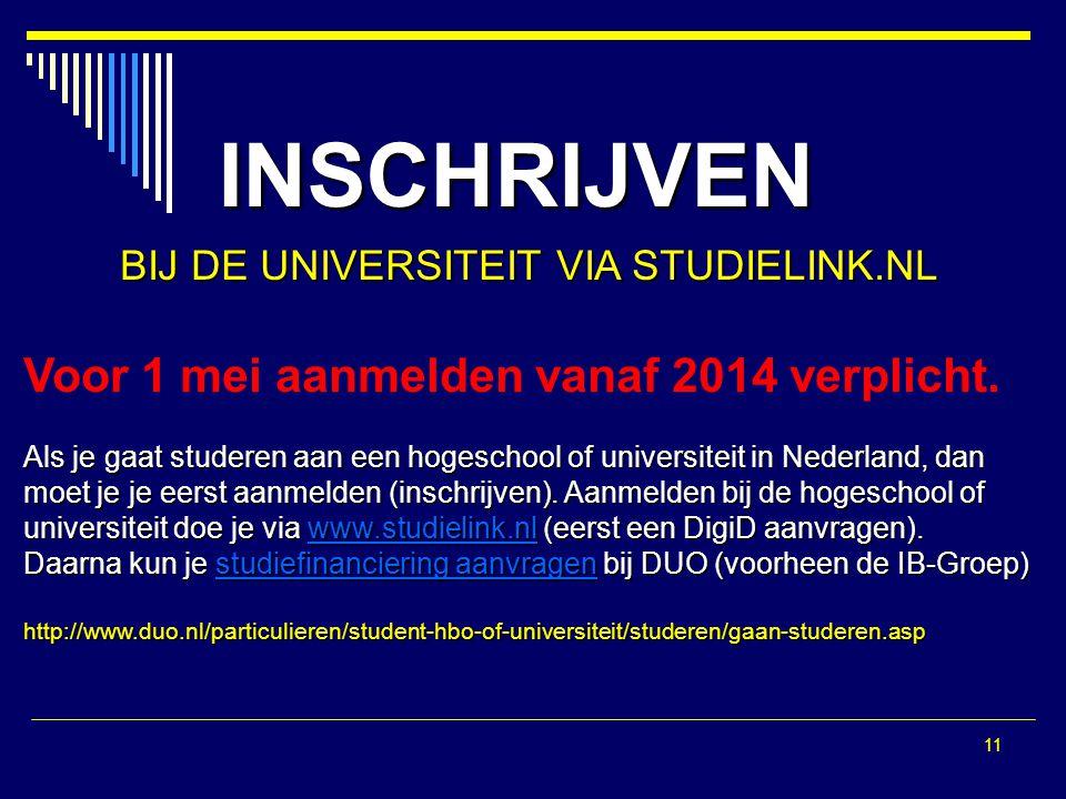 11 INSCHRIJVEN BIJ DE UNIVERSITEIT VIA STUDIELINK.NL Voor 1 mei aanmelden vanaf 2014 verplicht.