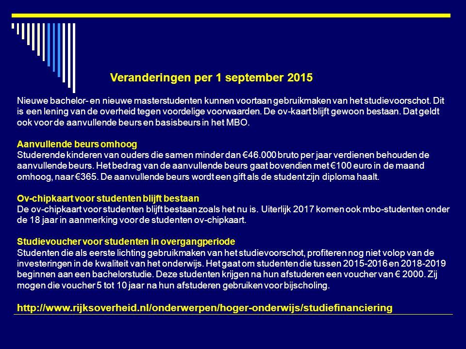 Veranderingen per 1 september 2015 Nieuwe bachelor- en nieuwe masterstudenten kunnen voortaan gebruikmaken van het studievoorschot.