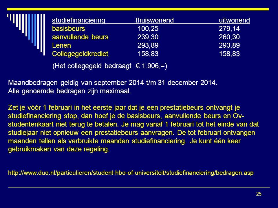 25 (Het collegegeld bedraagt € 1.906,=) Maandbedragen geldig van september 2014 t/m 31 december 2014.