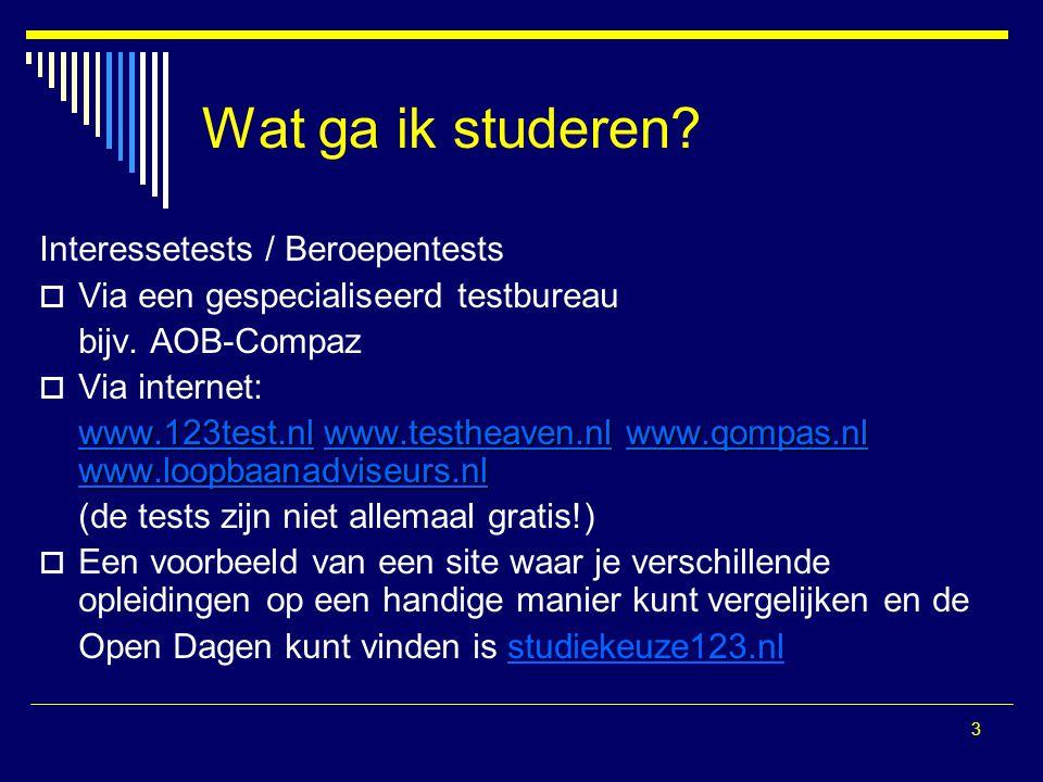 14 Lotingsstudies van vorig jaar O.a.: Bedrijfskunde (Groningen, VU, Nijmegen) Rechtsgeleerdheid Geneeskunde Tandheelkunde Bouwkunde (Delft) http://www.ib-groep.nl/particulieren/student-hbo-of-universiteit/meedoen-aan-de-loting/aanmelden-voor-een-lotingstudie.asp Je kunt je per studiejaar voor 1 lotingstudie aanmelden.