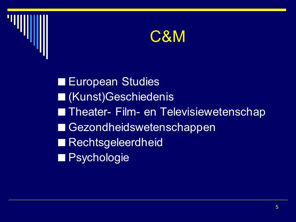 5 C&M European Studies (Kunst)Geschiedenis Theater- Film- en Televisiewetenschap Gezondheidswetenschappen Rechtsgeleerdheid Psychologie