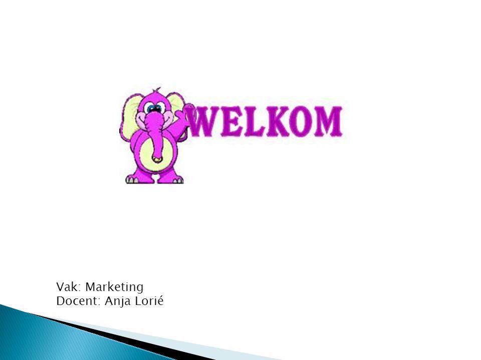 Vak: Marketing Docent: Anja Lorié