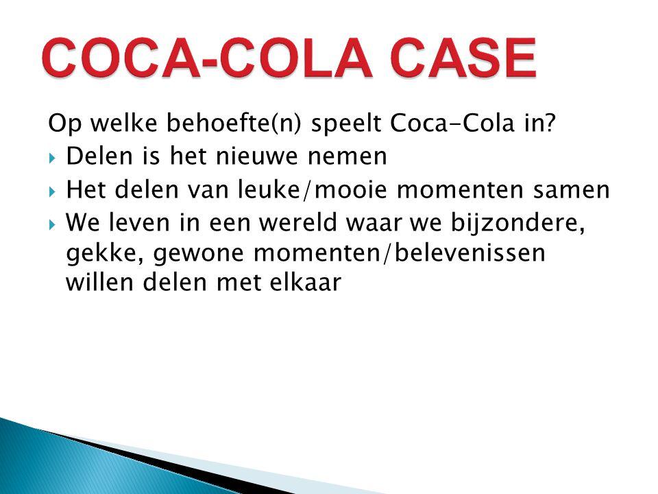 Op welke behoefte(n) speelt Coca-Cola in.