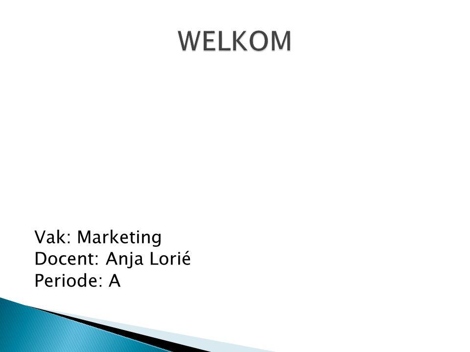 Vak: Marketing Docent: Anja Lorié Periode: A
