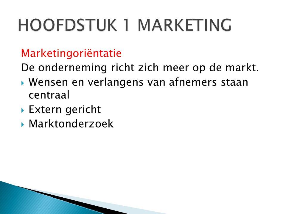 Marketingoriëntatie De onderneming richt zich meer op de markt.