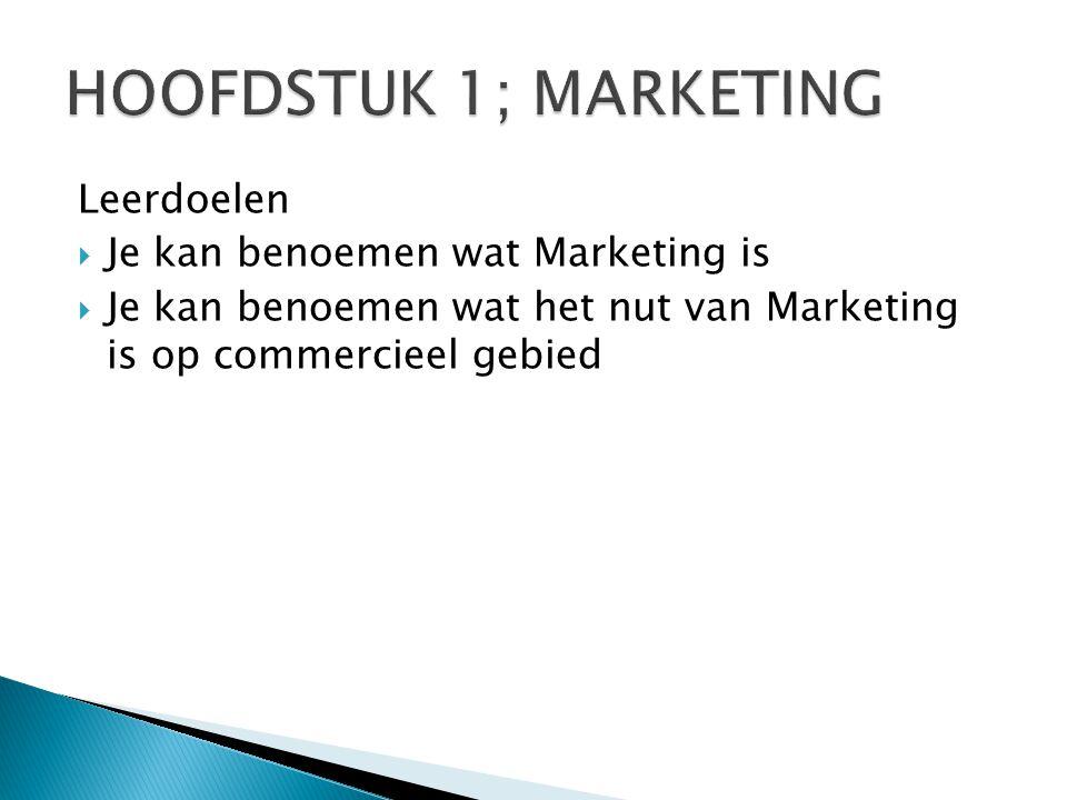 Leerdoelen  Je kan benoemen wat Marketing is  Je kan benoemen wat het nut van Marketing is op commercieel gebied