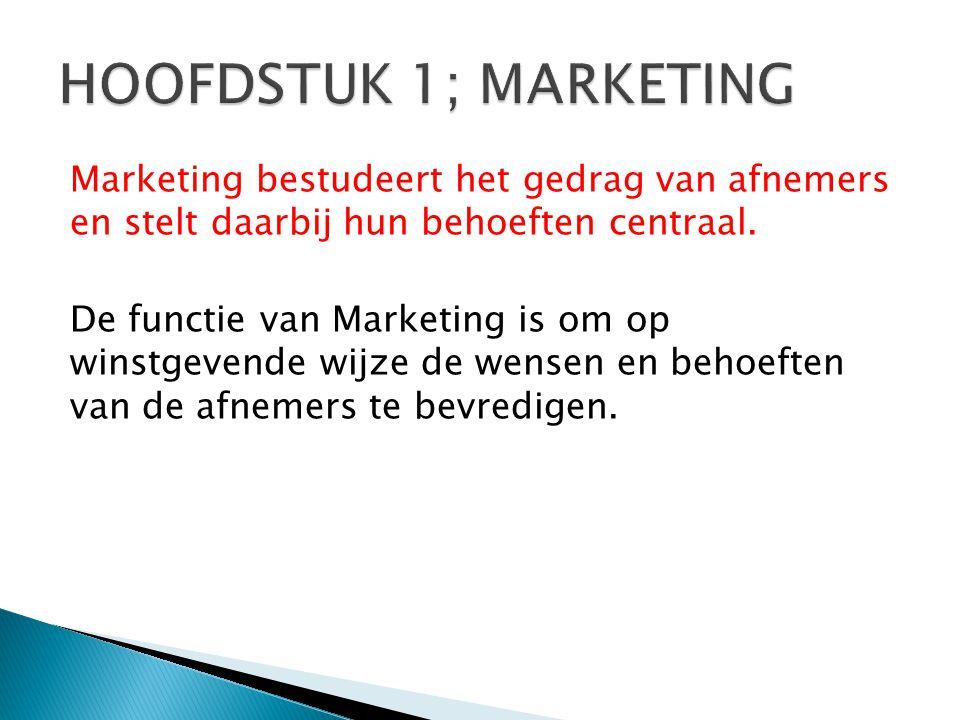 Marketing bestudeert het gedrag van afnemers en stelt daarbij hun behoeften centraal.