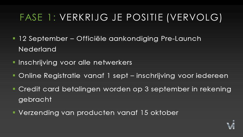 FASE 1: VERKRIJG JE POSITIE (VERVOLG)  12 September – Officiële aankondiging Pre-Launch Nederland  Inschrijving voor alle netwerkers  Online Registratie vanaf 1 sept – inschrijving voor iedereen  Credit card betalingen worden op 3 september in rekening gebracht  Verzending van producten vanaf 15 oktober