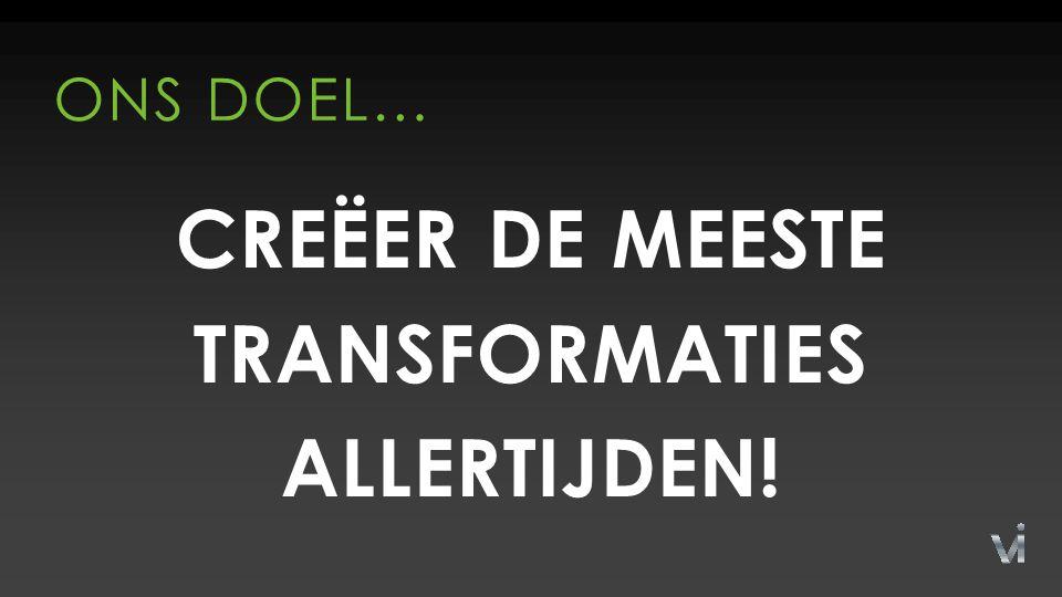 CREËER DE MEESTE TRANSFORMATIES ALLERTIJDEN! ONS DOEL…