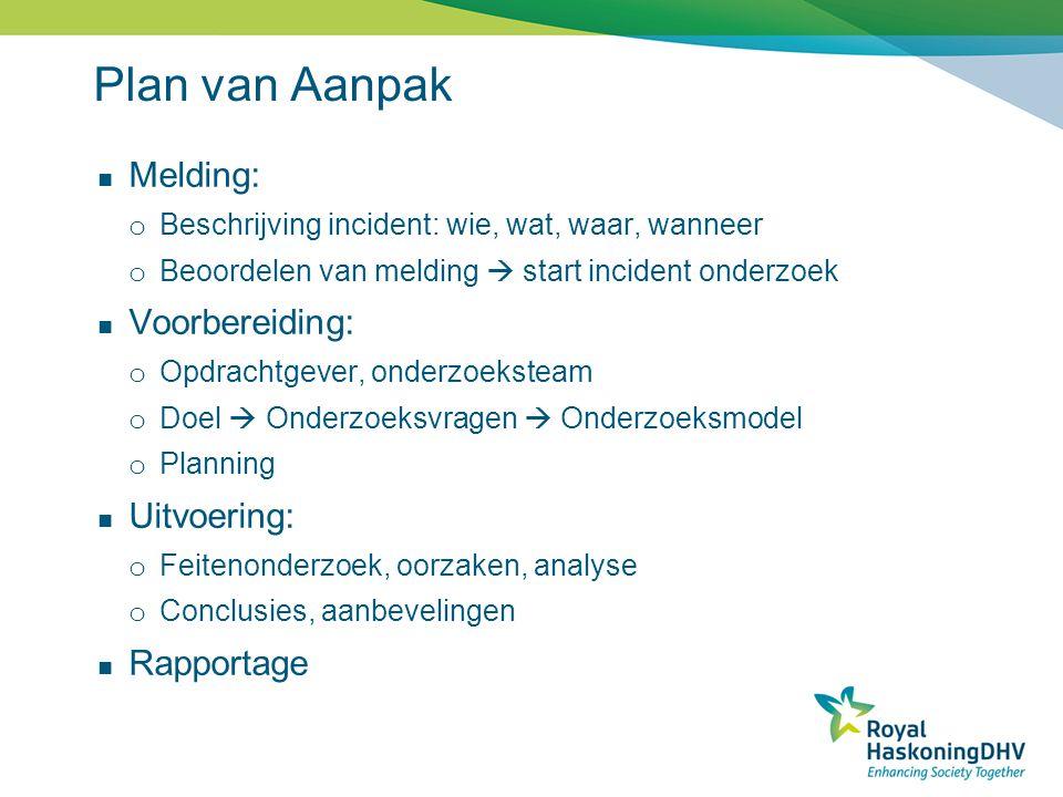 Plan van Aanpak Melding: o Beschrijving incident: wie, wat, waar, wanneer o Beoordelen van melding  start incident onderzoek Voorbereiding: o Opdrach