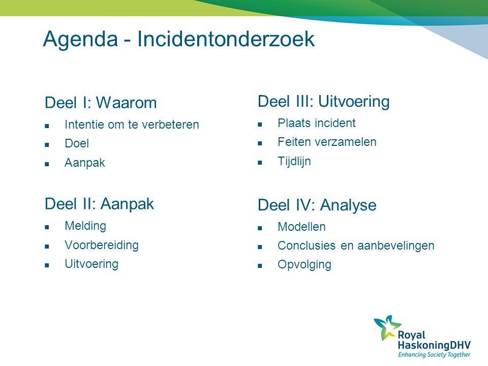 Agenda - Incidentonderzoek Deel I: Waarom Intentie om te verbeteren Doel Aanpak Deel II: Aanpak Melding Voorbereiding Uitvoering Deel III: Uitvoering