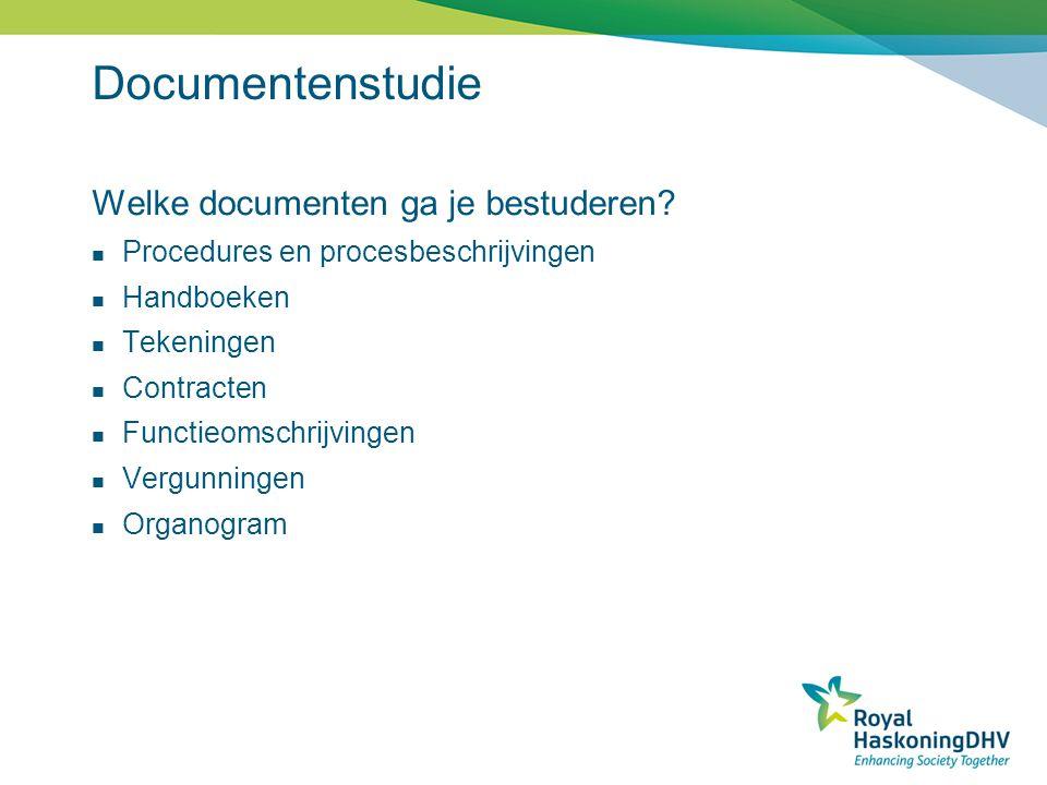 Documentenstudie Welke documenten ga je bestuderen? Procedures en procesbeschrijvingen Handboeken Tekeningen Contracten Functieomschrijvingen Vergunni