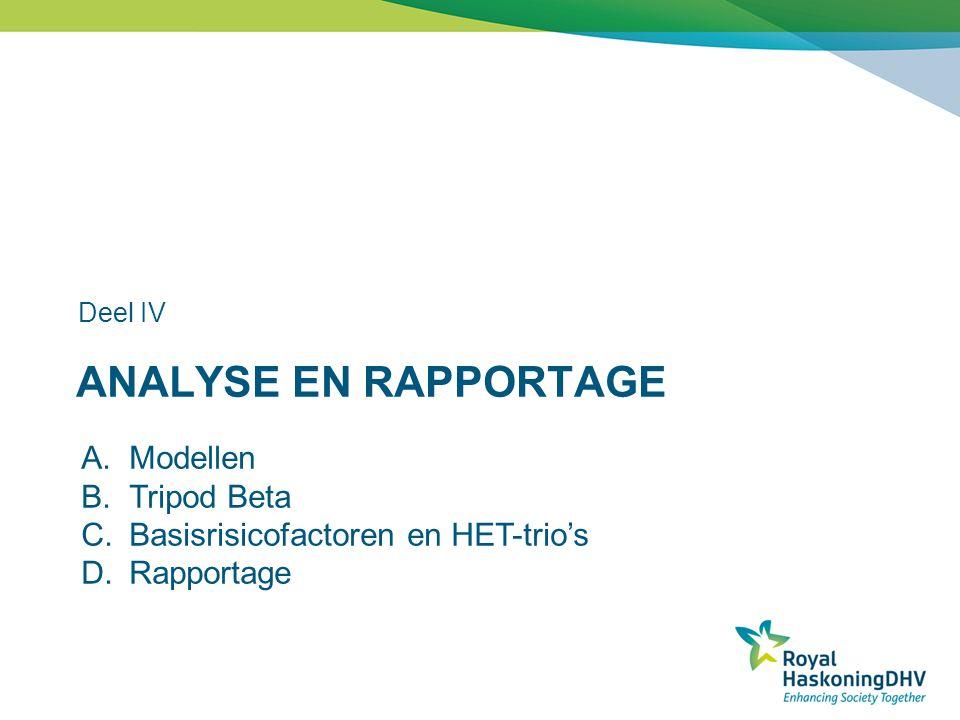 ANALYSE EN RAPPORTAGE Deel IV A.Modellen B.Tripod Beta C.Basisrisicofactoren en HET-trio's D.Rapportage