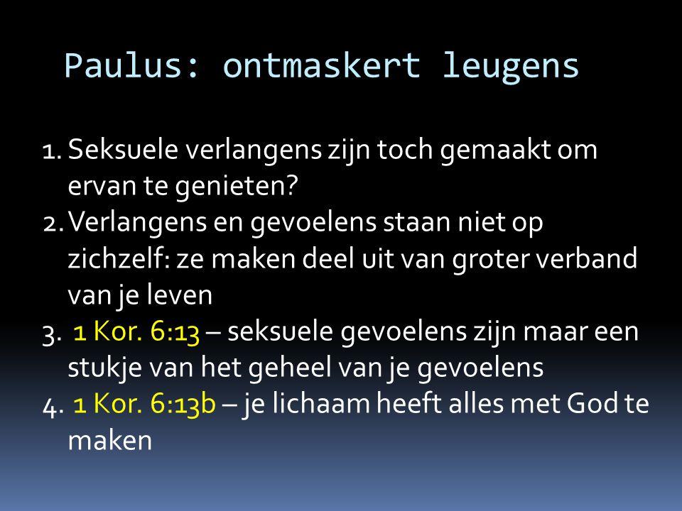 Paulus: wijst op Jezus 1.Wat je met je lichaam doet, heeft geestelijke gevolgen 1 Kor.