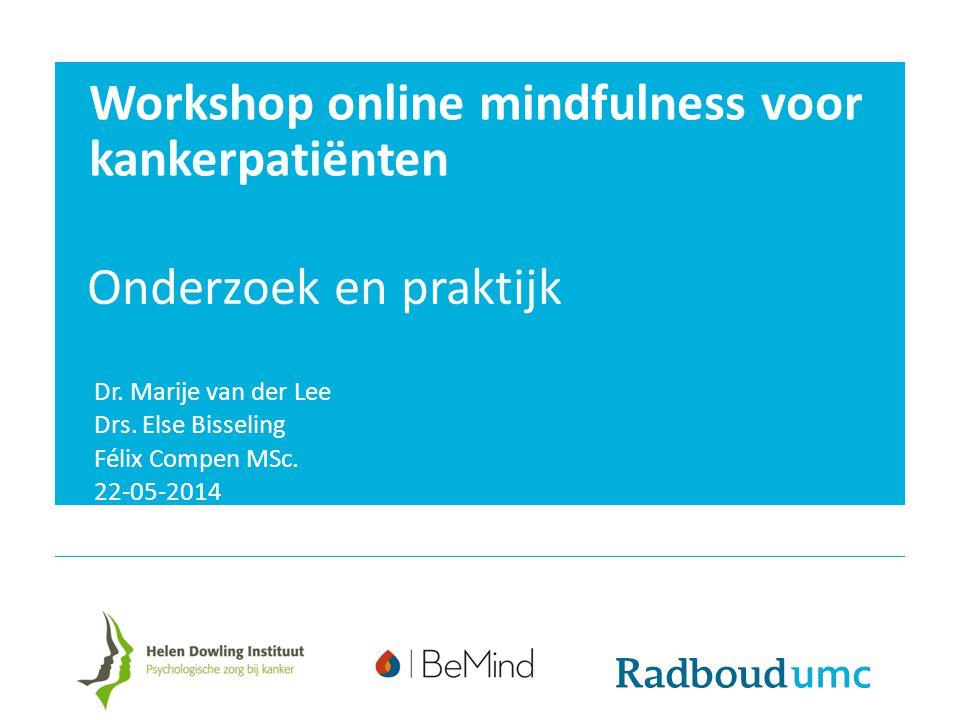 Workshop online mindfulness voor kankerpatiënten Onderzoek en praktijk Dr. Marije van der Lee Drs. Else Bisseling Félix Compen MSc. 22-05-2014