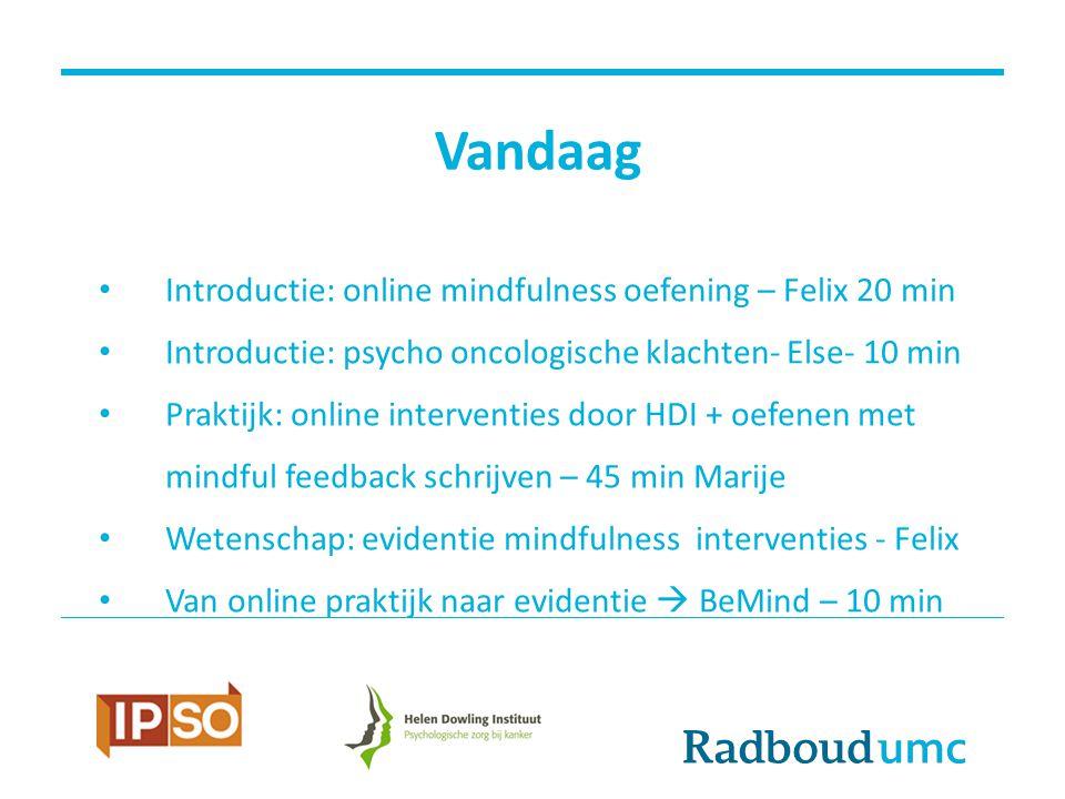 Vandaag Introductie: online mindfulness oefening – Felix 20 min Introductie: psycho oncologische klachten- Else- 10 min Praktijk: online interventies