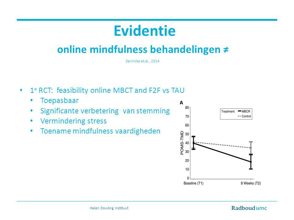 Evidentie online mindfulness behandelingen ≠ Zernicke et.al., 2014 1 e RCT: feasibility online MBCT and F2F vs TAU Toepasbaar Significante verbetering