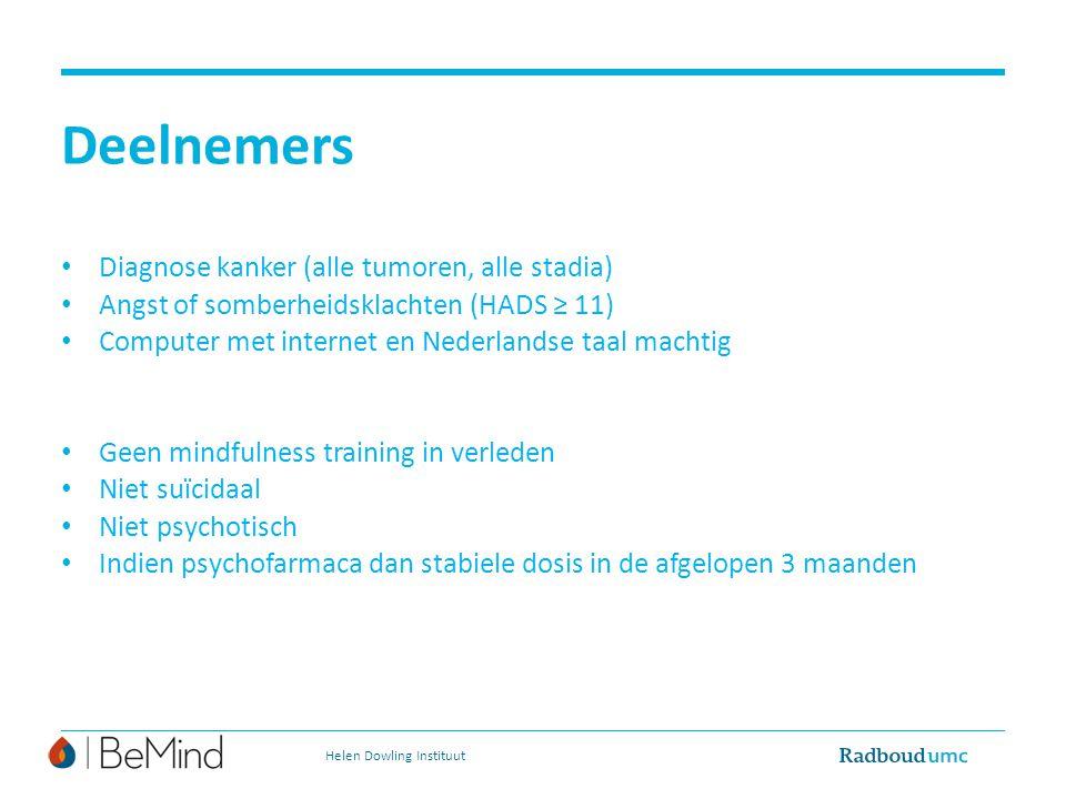 Deelnemers Diagnose kanker (alle tumoren, alle stadia) Angst of somberheidsklachten (HADS ≥ 11) Computer met internet en Nederlandse taal machtig Geen