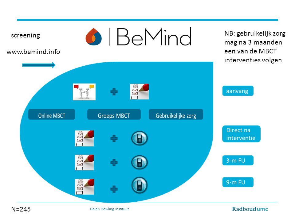 NB: gebruikelijk zorg mag na 3 maanden een van de MBCT interventies volgen www.bemind.info screening N=245 Helen Dowling Instituut