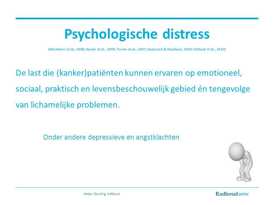 Psychologische distress (Montazeri et al., 1998; Hyodo et al., 1999; Turner et al., 2007; Hopwood & Stephens, 2000; Ostlund et al., 2010) De last die