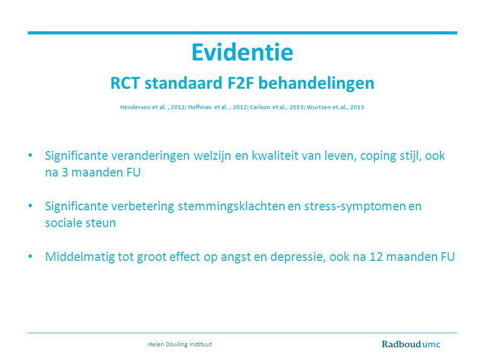 Evidentie RCT standaard F2F behandelingen Henderson et al., 2012; Hoffman et al., 2012; Carlson et al., 2013; Wurtzen et.al., 2013 Significante verand