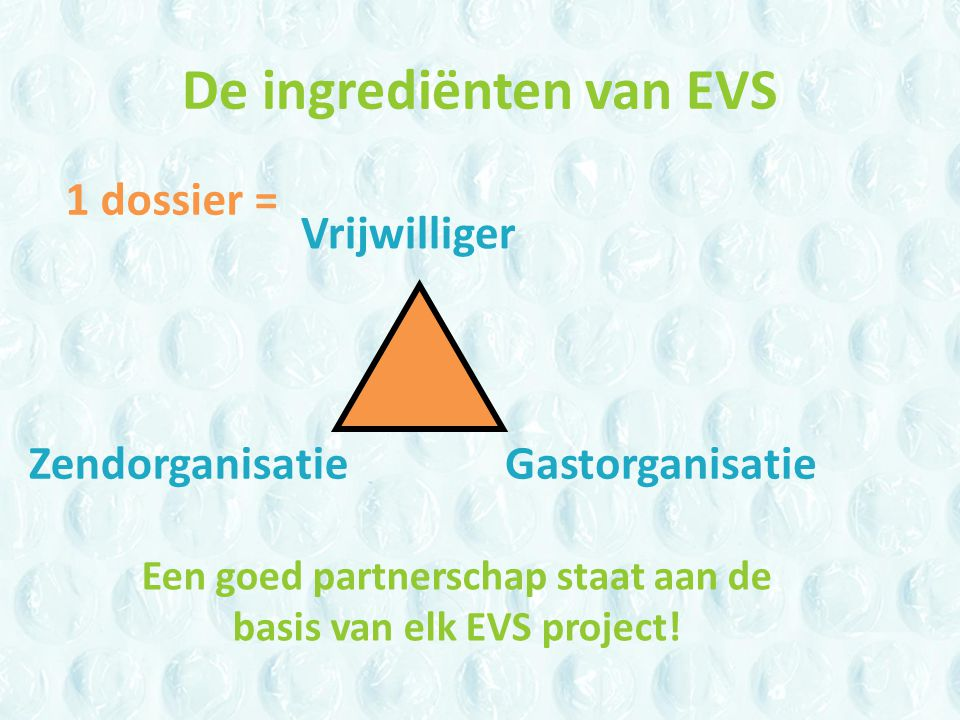 De ingrediënten van EVS Vrijwilliger ZendorganisatieGastorganisatie 1 dossier = Een goed partnerschap staat aan de basis van elk EVS project!