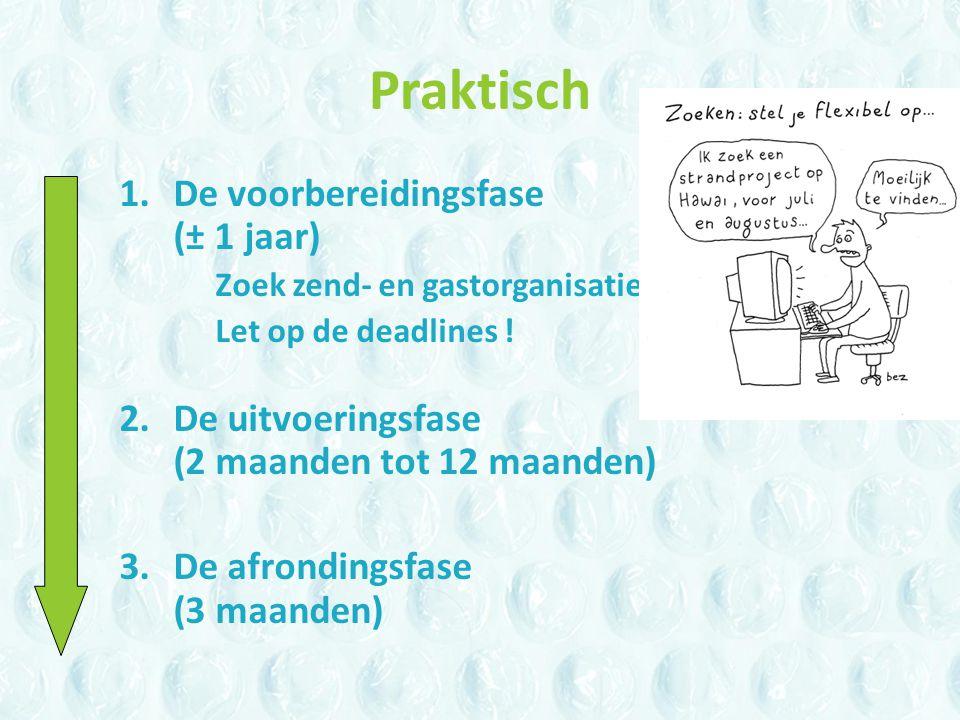 Praktisch 1.De voorbereidingsfase (± 1 jaar) Zoek zend- en gastorganisatie Let op de deadlines .