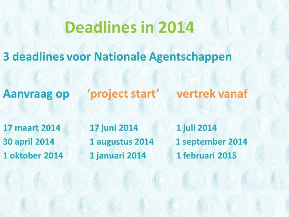 Deadlines in 2014 3 deadlines voor Nationale Agentschappen Aanvraag op 'project start' vertrek vanaf 17 maart 201417 juni 2014 1 juli 2014 30 april 20141 augustus 2014 1 september 2014 1 oktober 20141 januari 20141 februari 2015