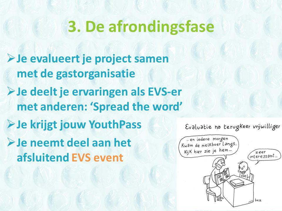 3. De afrondingsfase  Je evalueert je project samen met de gastorganisatie  Je deelt je ervaringen als EVS-er met anderen: 'Spread the word'  Je kr
