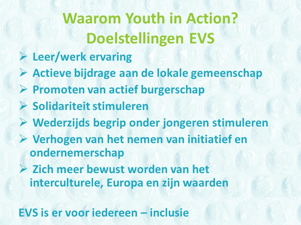 Waarom Youth in Action.