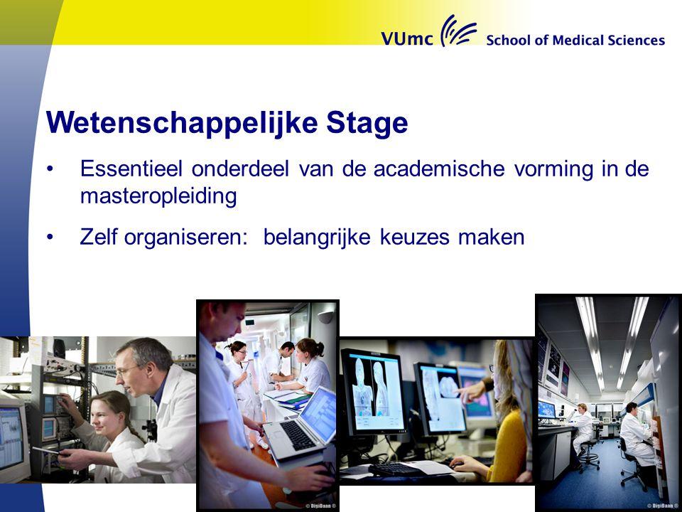 Wetenschappelijke Stage Essentieel onderdeel van de academische vorming in de masteropleiding Zelf organiseren: belangrijke keuzes maken