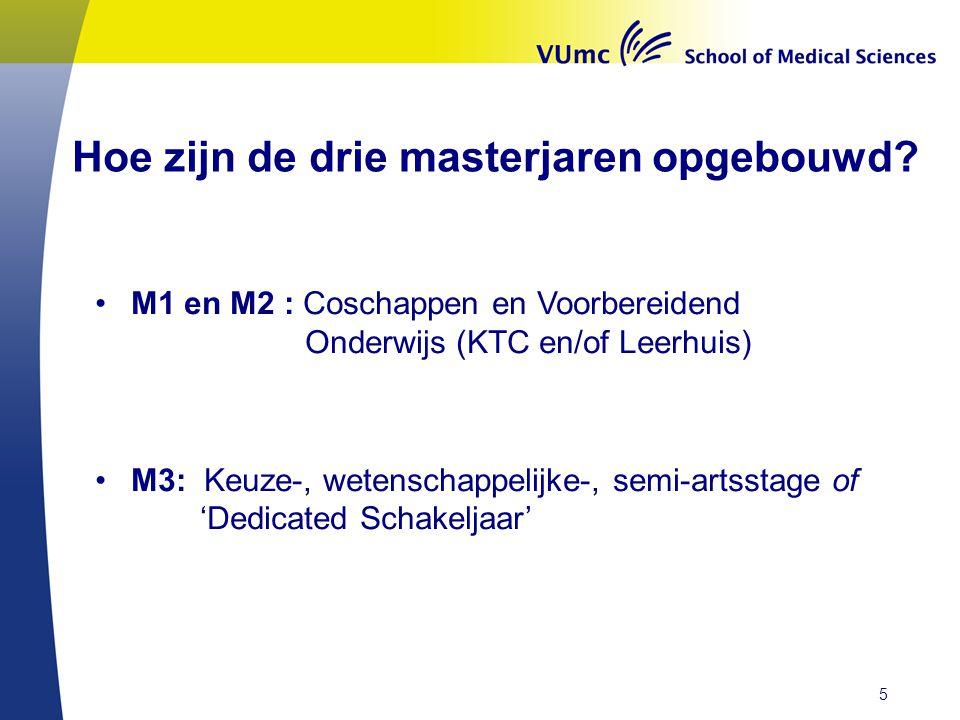 Hoe zijn de drie masterjaren opgebouwd? M1 en M2 : Coschappen en Voorbereidend Onderwijs (KTC en/of Leerhuis) M3: Keuze-, wetenschappelijke-, semi-art