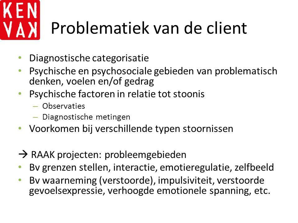 Problematiek van de client Diagnostische categorisatie Psychische en psychosociale gebieden van problematisch denken, voelen en/of gedrag Psychische f