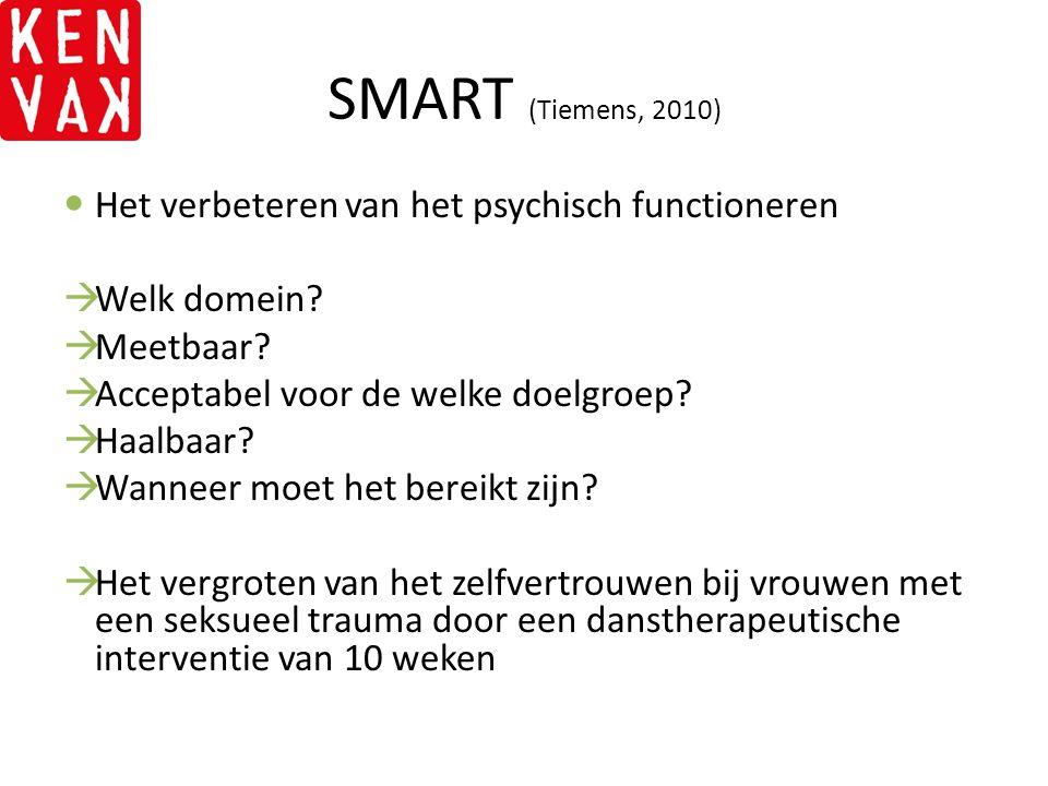 SMART (Tiemens, 2010) Het verbeteren van het psychisch functioneren  Welk domein?  Meetbaar?  Acceptabel voor de welke doelgroep?  Haalbaar?  Wan