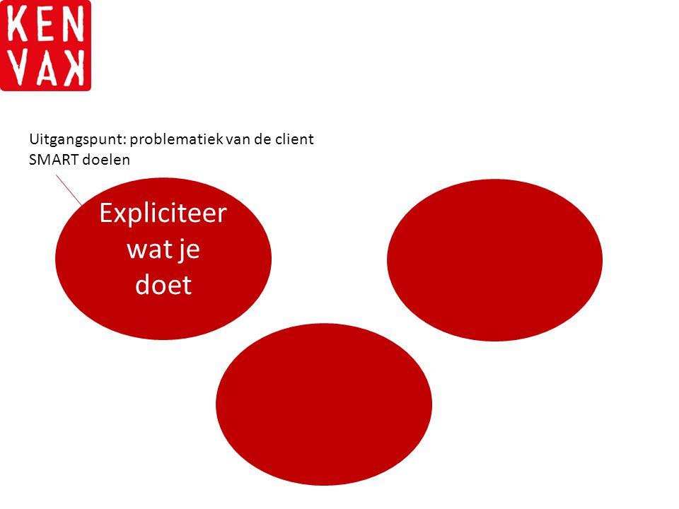 Expliciteer wat je doet Uitgangspunt: problematiek van de client SMART doelen