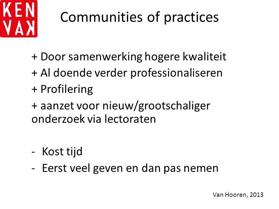 Communities of practices + Door samenwerking hogere kwaliteit + Al doende verder professionaliseren + Profilering + aanzet voor nieuw/grootschaliger o