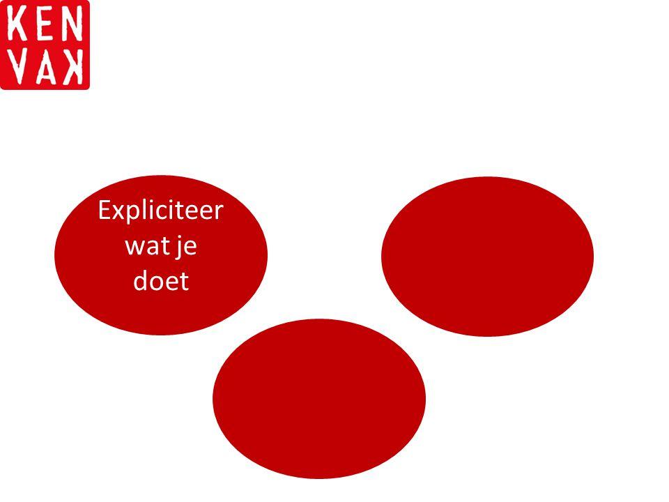 Pak de pareltjes Onderbouw met evidentie Samenstelling van de CoP Expliciteer wat je doet Uitgangspunt: problematiek van de client SMART doelen