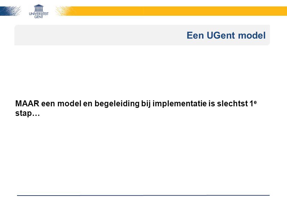Een UGent model MAAR een model en begeleiding bij implementatie is slechtst 1 e stap…