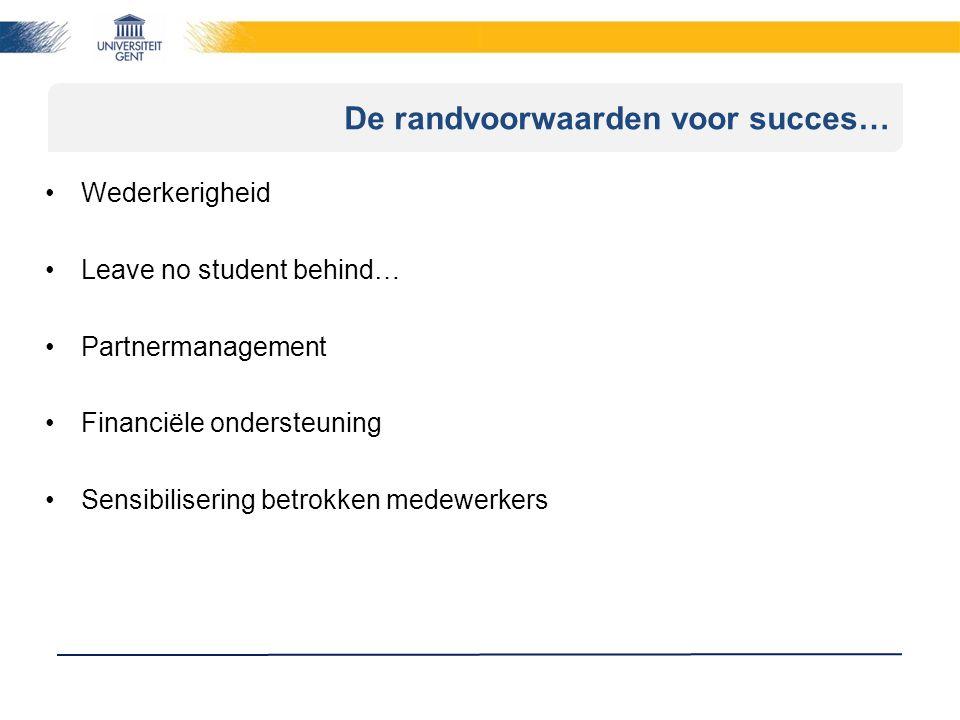 De randvoorwaarden voor succes… Wederkerigheid Leave no student behind… Partnermanagement Financiële ondersteuning Sensibilisering betrokken medewerkers