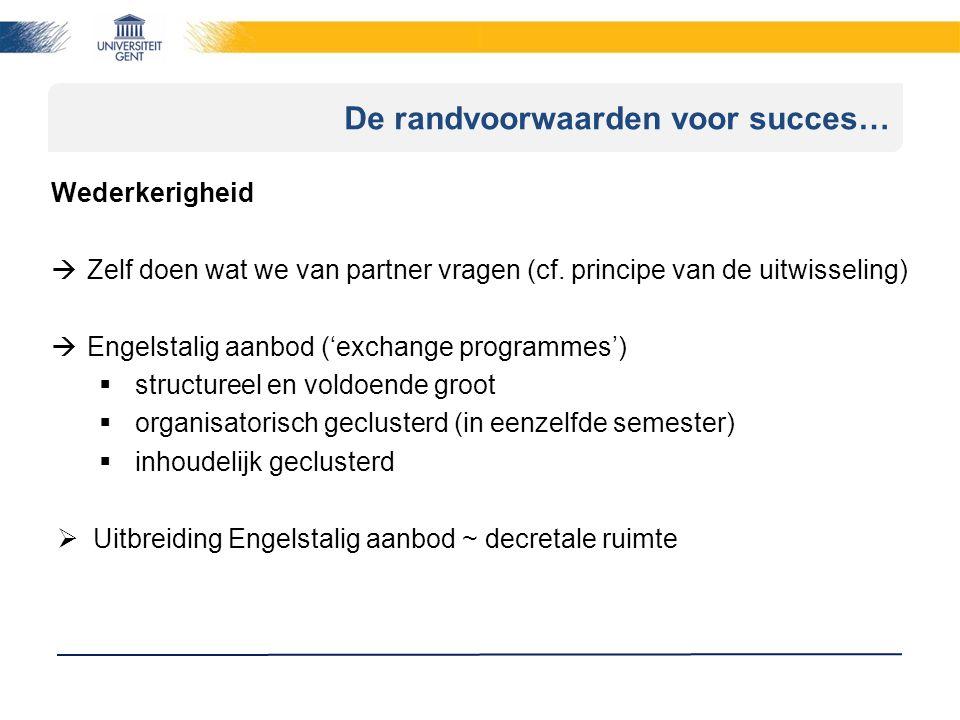 De randvoorwaarden voor succes… Wederkerigheid  Zelf doen wat we van partner vragen (cf.