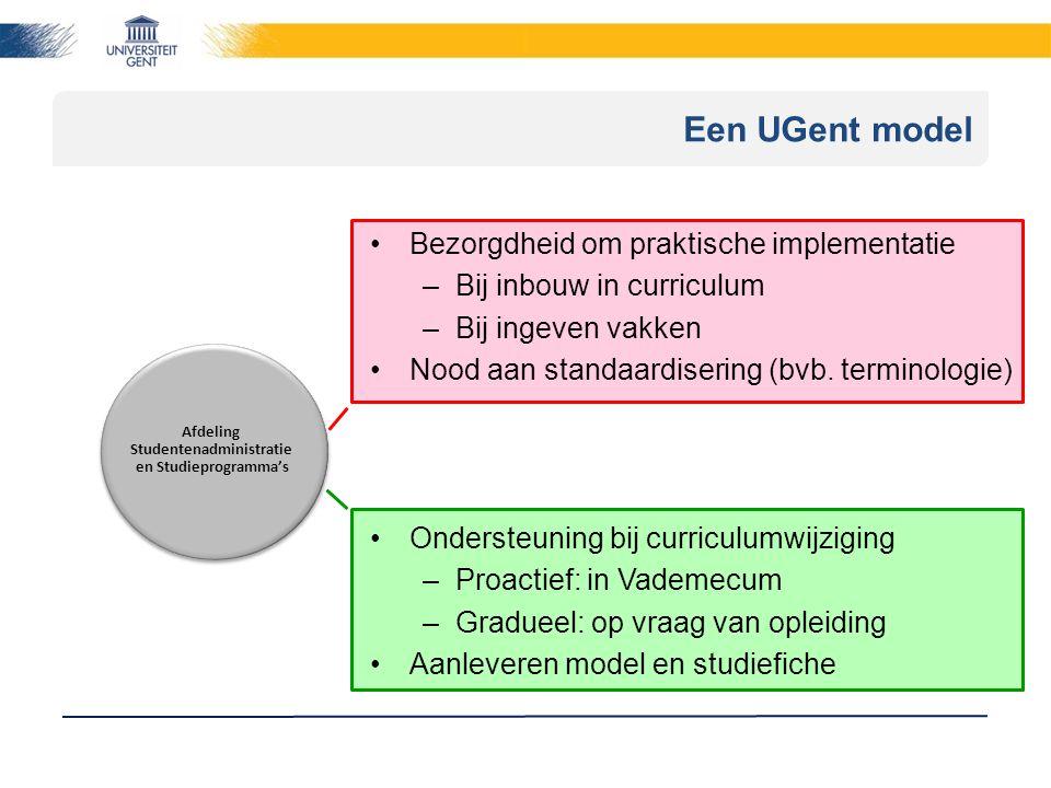 Een UGent model Afdeling Studentenadministratie en Studieprogramma's Bezorgdheid om praktische implementatie –Bij inbouw in curriculum –Bij ingeven vakken Nood aan standaardisering (bvb.