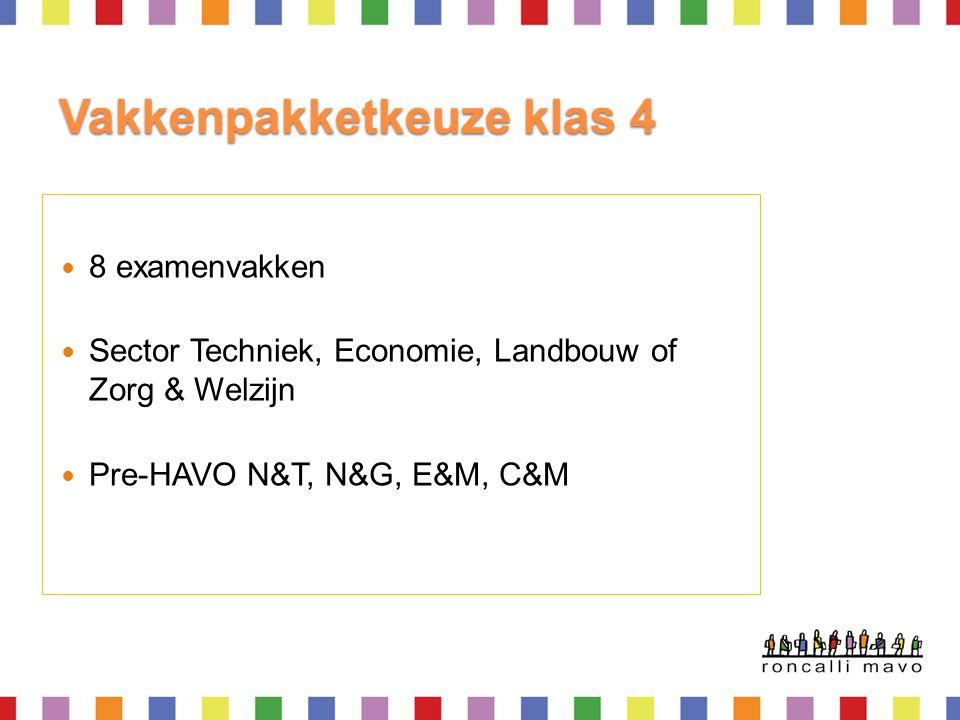 Vakkenpakketkeuze klas 4 8 examenvakken Sector Techniek, Economie, Landbouw of Zorg & Welzijn Pre-HAVO N&T, N&G, E&M, C&M