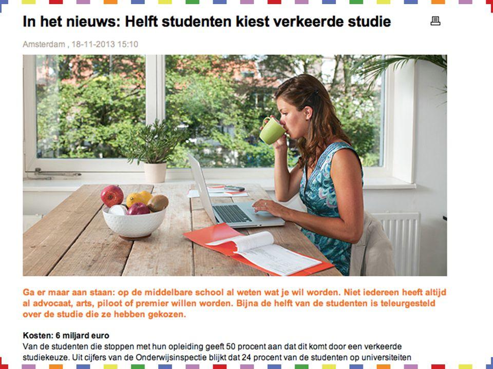 Weinig moeite gedaan Verwachting studie niet uitgekomen Gebrek aan motivatie, vaak verkeerd beeld studie Weinig om begeleiding gevraagd Wat kan de oorzaak zijn?