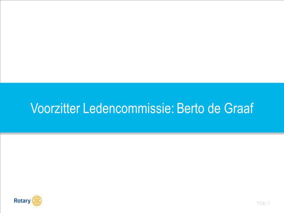 TITLE | 1 Voorzitter Ledencommissie: Berto de Graaf