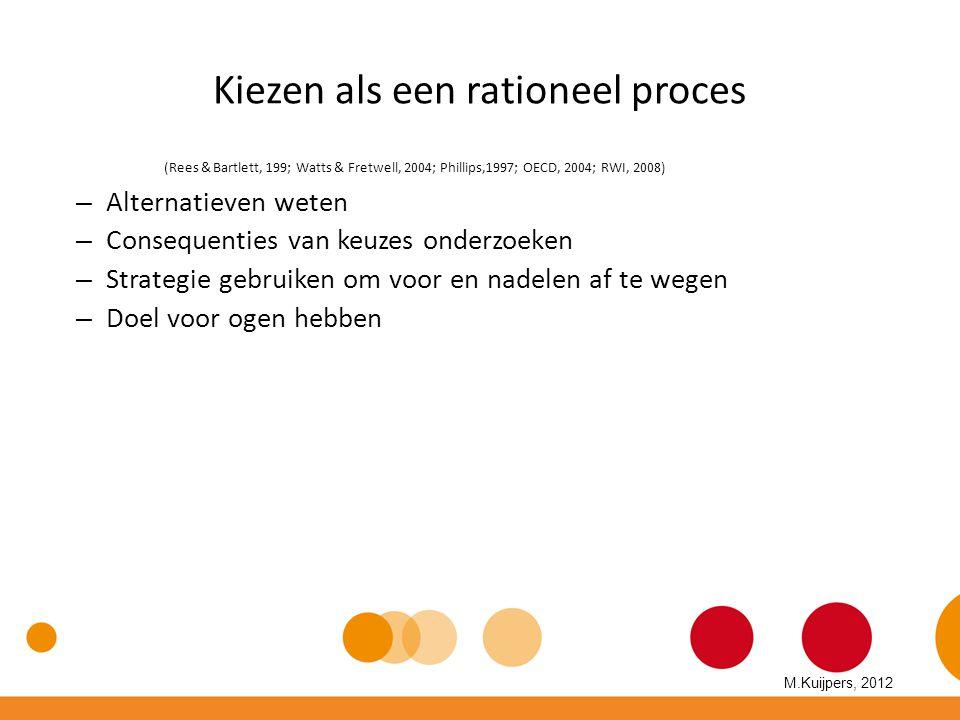 Kiezen als een rationeel proces (Rees & Bartlett, 199; Watts & Fretwell, 2004; Phillips,1997; OECD, 2004; RWI, 2008) – Alternatieven weten – Consequen