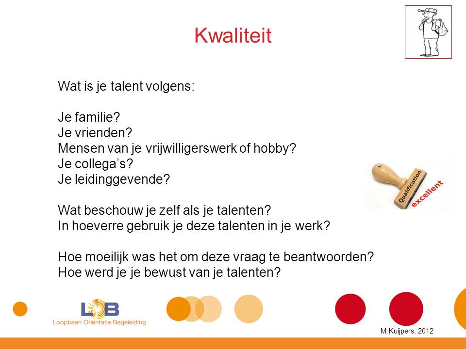 Kwaliteit Wat is je talent volgens: Je familie? Je vrienden? Mensen van je vrijwilligerswerk of hobby? Je collega's? Je leidinggevende? Wat beschouw j