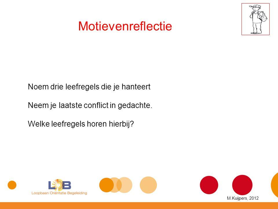 Motievenreflectie Noem drie leefregels die je hanteert Neem je laatste conflict in gedachte. Welke leefregels horen hierbij? M.Kuijpers, 2012