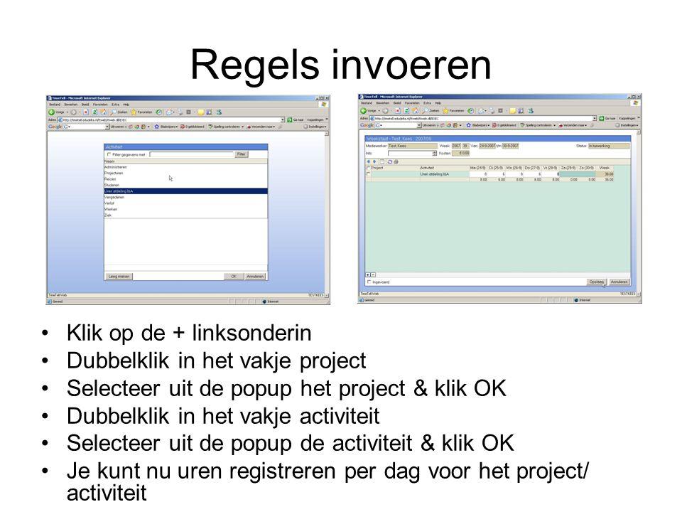 Regels invoeren Klik op de + linksonderin Dubbelklik in het vakje project Selecteer uit de popup het project & klik OK Dubbelklik in het vakje activit